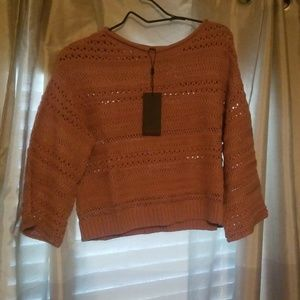 Frye Melissa crop crochet sweater